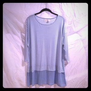 Blue and white tunic top. NWT
